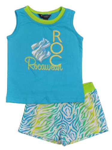 Rocawear Toddler Girls Glitter Tiger Turquoise 2Pc Short Set (3T)