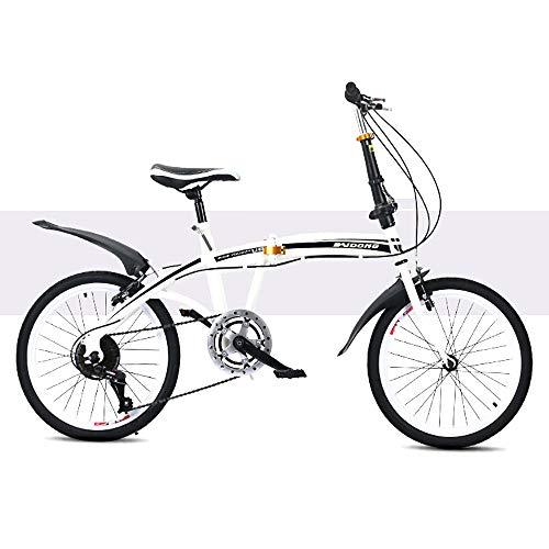 BrightFootBook Klapprad Faltrad Fahrrad,Herren Damen Jungen Folding 20 Zoll,Citybike Leichtes,Mini Faltrad Kleines Tragbares Fahrrad für Erwachsene,White