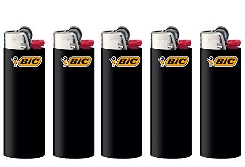 All u need BIC Maxi Feuerzeuge Reibrad Lighter Neutral Flints Zündstein J26 5 Stück + Keyring Flaschenöffner (Schwarz)