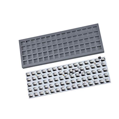 ID75 Ortholineares Layout QMK Gehäuse aus eloxiertem Aluminium, Hot-Swap-fähig, Typ C, PCB, mechanisches Tastatur-Set (grau)