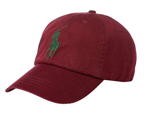 Polo Ralph Lauren Men`s Leather Strap Embroidered Chino Baseball Cap (One Size, Classic Wine(8006)/Green)
