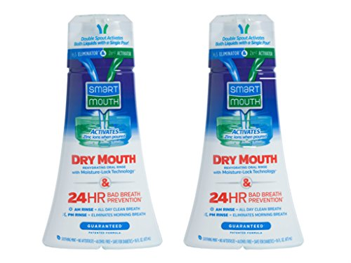 SmartMouth Dry Mouth Mouthwash, Re-hydrating Oral Rinse for Dry Mouth and Bad Breath, Mint Flavor, 16 Fluid ounces (2 Pack)