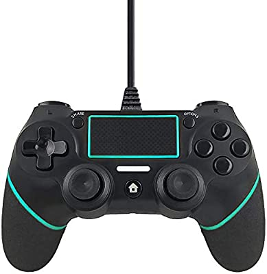 Wired Controller Compatible with PS4 Wired Gamepad and Built-in Motion Motors,Mini LED Indicator and Anti-Slip Design -Berry Blue