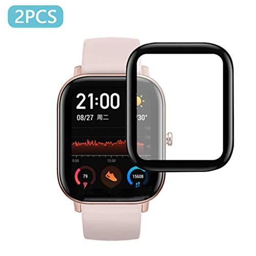 Xbeast Case 2 Stück Tempered Screen Protector Kompatibel mit AMAZFIT GTS Smart Watch blasenfrei klebender Anti-Splitter-Schutzfolie