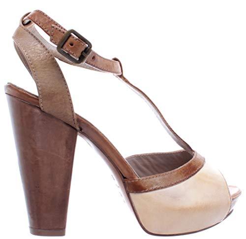 MOMA Damen Schuhe Sandal Pumps 44202-E9 Leder Weiß Braun