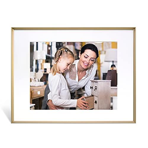 Marco de fotos de 11 x 14 con alfombrilla para fotos de 8 x 10, 8,5 x 11, marcos de fotos de metal de bronce antiguo para paisaje/retrato/cartel/impresiones/artes, montaje en pared...