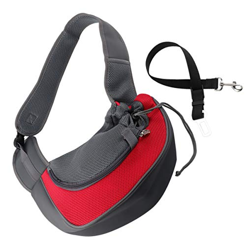 POPETPOP Pet Sling Carrier Bag Hand-frei Hund Katze Outdoor Travel Umhängetasche mit Auto Sicherheitsgurt Größe S