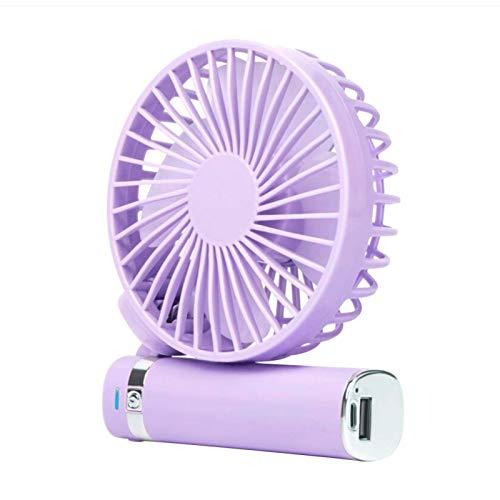 Aland PortableHandheld Fan Foldable Desktop USB Fan With LED Night Light 1500mAh Battery Charging Small Fan for Home Office - Purple
