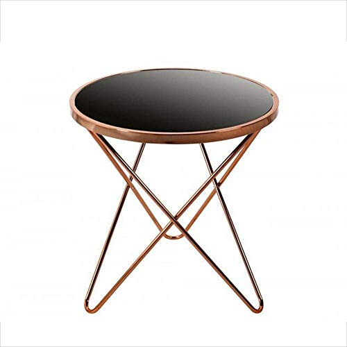 Bed Table, Tables Sofa Side Table, Round Black Glass Top Side Table, 3 Hairpin Inspired Legs, with Chromed Steel Base Coffee Table Color : Gold, Size : 21.6522.44in