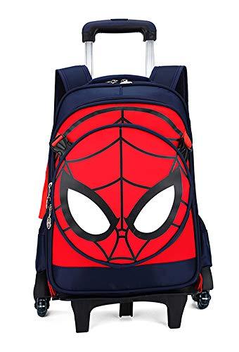 Spiderman Captain America Trolley Schoolbag Backpack Travel Bag Luggage Trolley Case with Six Rolling Trolley Bag (Spiderman Dark Blue)