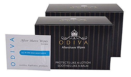 Aftershave for men - Odiva Aftershave Wipes (2 Packs of 50 Wipes each), 100 WET Wipes - Protects like a lotion, soothes like a balm - Provides the best of both worlds.
