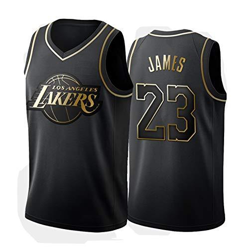 LeBron James 23# Los Angeles Lakers - Polo de baloncesto para hombre, color negro y dorado
