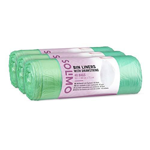 Marca Amazon - Solimo Bolsas de basura con cierre de cordón