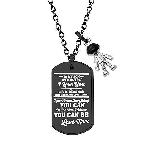 YUANSHI Personality Necklace for Son Black Color Stainless Steel Engraved Cute Pendant Necklace for Men Christmas Birthday Graduation Inspirational Jewellery Gifts