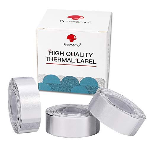 D30 D30Pro Thermopapier - Silber Glitter Sticker Papier, Selbstklebendes Etikett, Thermo Sticker Papier für Bilder/1D Code/QR Code/Text/Symbole/Excel/Preis/Name, Heimarbeit, 14x40mm, 3 Rollen