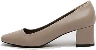 [qkeusf] レディース パンプス 太めヒール ローヒール スクエアトゥ シンプル 金属飾り ブラック ブラウン 肌色 通勤 冠婚葬祭 お出かけ 二次会 美脚効果 脱げない スリッポン 滑り止め ファッション ヴィンテージ 婦人靴