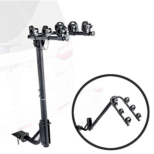 KAC S3 125quot and 2quot Hitch Receiver 3Bike Capacity Hanging Bicycle Carrier  Hitch Mounted  Adapter Included  Double Folding Smart Tilting Design – RV Use Prohibited