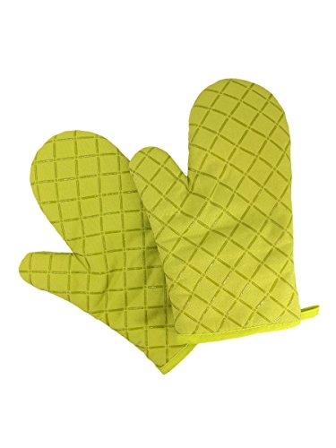 Camilife 2 stuks Verdikte hittebestendige ovenwanten pannenlappen magnetronoven handschoenen bakhandschoenen silicone antislip-groen, stof, breedte 18 cm lengte 28 cm
