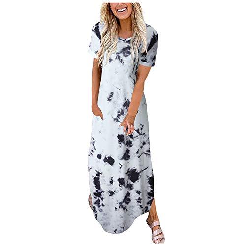 Maxikleider Damen Sommerkleid Tie Dye/Boho Drucken Strandkleid Ärmellos Rundhals Großen Größen Maxi Kleid Elegant Swing Party Kleid mit Taschen