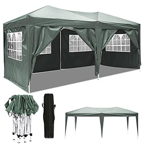 Carpa Impermeable Plegable 3x6 Cenador Jardin Exterior 3 Regulables en Altura para...