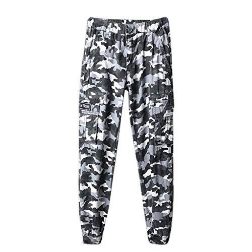 Morran Herren Camouflage Cargo Jeans Hose Jogg Chino-Hose Stretch Low Crotch Basic Jeanshose