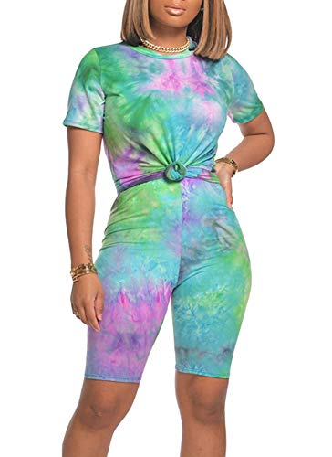Women Two Piece Outfits Sets - Tracksuit Set Tie Dye Short Sleeve T Shirts + Skinny Short Pants Jogging Suits Rompers Large Purple Green