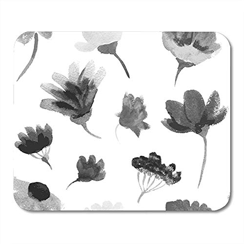 Muis Mat Patroon Aquarel Kleurrijke Bloemen Zwart Inkt Grijs Schilderij Wit Mousepad 25X30Cm Office Decor Rubber Achterkant Muis Mat Nonslip Gaming Mouse Pad