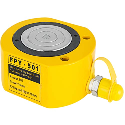 VEVOR Hydraulikzylinderheber Kapazität 50T Hydraulikzylinder 16 mm Hub Super dünn ultradünner tragbar gelb, hydraulische Wagenheber Hohlkolbenheber Hydraulikflasche 7 kg für Riggers-Hersteller