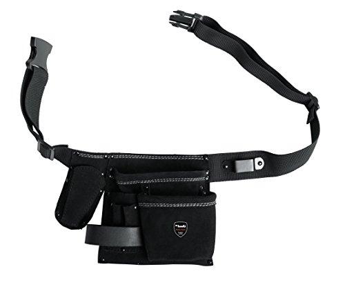 kwb Werkzeug-Tasche Leder mit Gürtel – 5 Fächer, Nagel-Tasche, Messertasche, Hammerhalter und Halter für Bandmaß