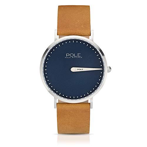 Pole Watches Herren Quarz Analoge Einzeigeruhr in Blau und Lederarmband in Senf | Modell Classic Azure C-1001AZ-MA02
