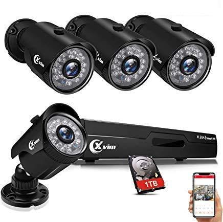 XVIM 8CH 1080P Security Camera System Home Security Outdoor 1TB Hard Drive Pre-Install CCTV Recorder 4pcs HD 1920TVL Upgrade Surveillance Cameras with...