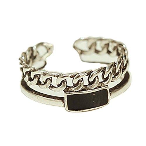 Bague Fashion Silver Ring Ring Tail Simple ouverture Anneau Accessoires Retro