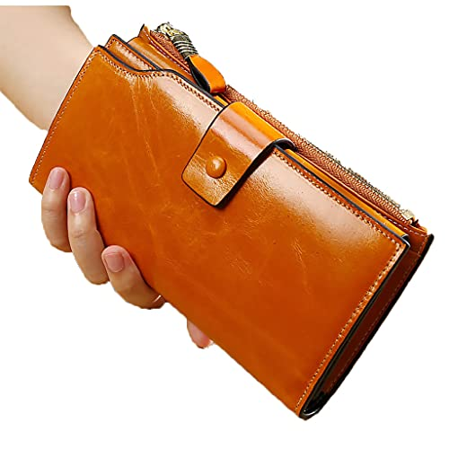 JDJQ Women's Leather Wallet RFID Block Titular de la Tarjeta de crédito con Cremallera Bolso de teléfono Celular Brown