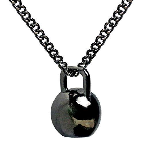 VAWAA Colgante Collar Negro Acero Inoxidable Cadena De Peso Elevación Fitness Hippie Collar De Poder Hombres Entrenamiento Joyería