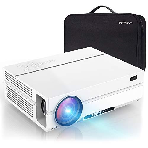 TOPVISION Heimkino Beamer mit Tragetasche,7200 Lumen Video Beamer with 80.000 Stunden Verlängert,Native 1080P LCD Beamer Full HD,4K 300\'\' Heim/Berufsbeamer für Smartphone/PC/TV-Box/Laptop/PS4/PPT