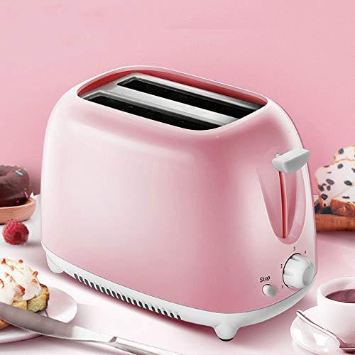 ASK Tostadora eléctrica automática 2 rebanadas Ranura para Tostadas Horno para Hornear Parrilla Calentador Mini sándwich, Rosa