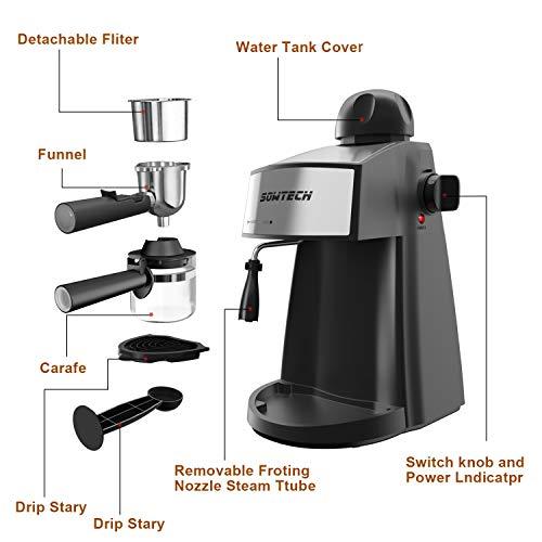 Espresso Machine, SOWTECH 3.5 Bar 4 Cup Espresso Maker Cappuccino Machine with Steamer