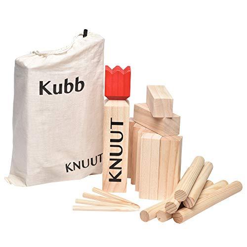 Toyfel Kubb Knuut - Jeu de quilles finlandais en bois FSC ® et sac en tissu - Jeu viking - Jeux de plein air - XL - De 2 à 6 personnes