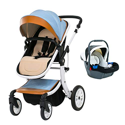 YXCKG Cochecito de bebé 3 en 1, Cochecito de bebé de Lujo con Dosel de Gran tamaño, resortes antichoque Cochecito de bebé con Vista Alta y Cesta de bebé para recién Nacidos y bebés (Color : Blue)
