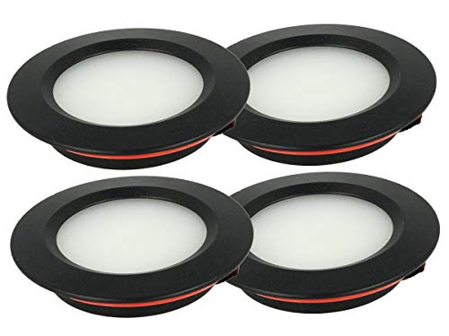 LEDLUX 4 mini focos LED empotrables redondos Slim 3 W DC 12 V 24 V Orificio 50 mm para luces de cocina, baño, caravana (negro, 6000 K)