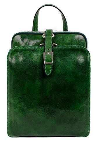 Time Resistance Lederrucksack Wandelbar zu Schultertasche bis zu 12 Zoll Laptops - Grün Tagestasche Reisetasche Rucksack