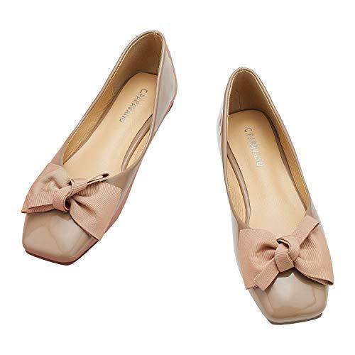 C.PARAVANO Buty baletowe I baleriny I damskie płaskie buty I czółenka dla kobiet I opatentowane buty skórzane z lustrzanym obcasem I czółenka na niskim obcasie, - BEŻOWY - 39.5 EU