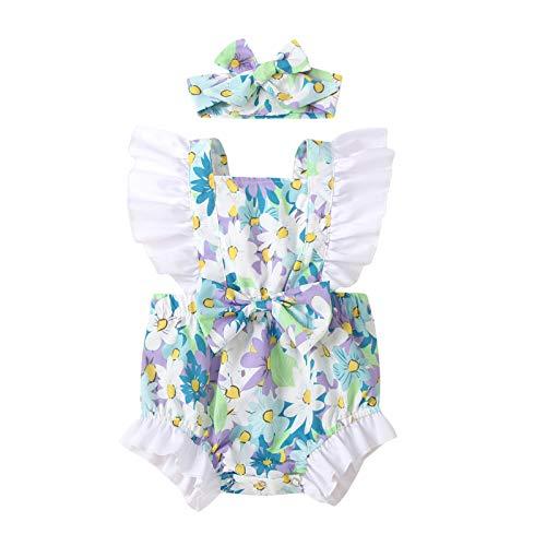 Beudylihy Conjunto de ropa de bebé para niñas, de poliéster, primavera, verano, con lazo de lazo, estampado de flores, fácil de poner y quitar, pelele exterior + cinta para la cabeza azul 0-6 Meses
