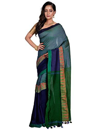 Avik Creations Women's Sambalpuri Kotki Khadi Handloom Embroidered Bengali Pure Cotton Saree Dark Blue