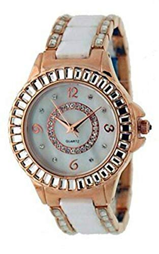 Geneva #AT5094L Women's Rose Gold Tone Crystal White Ceramic Watch -  AT5094L-7