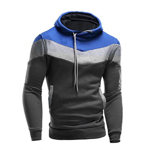 Hunzed Men's Retro Long Sleeve Hoodie Hooded Top Casual Sweatshirt Jacket Coat Outwear Shirt Blouse (XL, Blue)