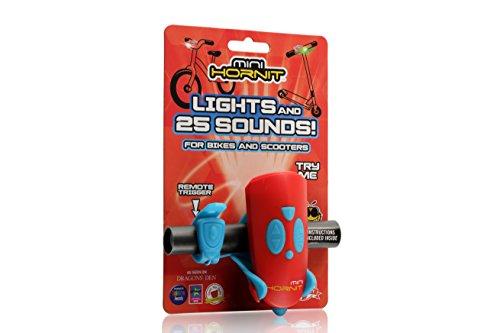 Hornit Mini Rosso e Blu - Clacson e Luce per Bici e Scooter per Bambini - 25 Effetti sonori e 5 luci