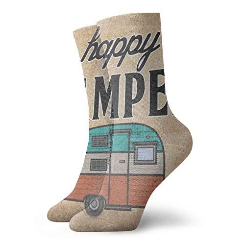 yting Lustiges buntes glückliches Wohnmobil Clipart klassische atmungsaktive Mannschafts-Socken 30 cm flach gestrickte zufällige athletische tägliche Sportsocken