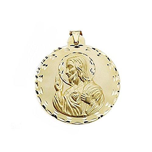 Medalla Oro 18K Escapulario 42mm Virgen Carmen Corazón Jesús [7101]