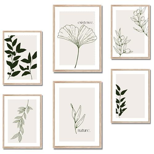 BLATT PAPIER® 6er Premium Poster Set (2x A3, 4x A4) - Wandbilder Set, Bilder Set - Poster Set beige - Wanddeko Wohnzimmer - OHNE Rahmen